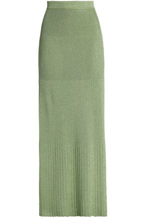 MISSONI Pleated metallic stretch-knit maxi skirt
