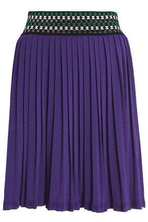 MISSONI Pleated stretch-knit mini skirt