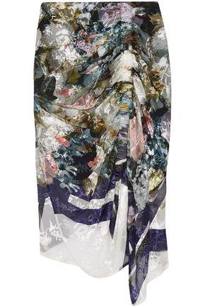 PREEN by THORNTON BREGAZZI Terence asymmetric devoré silk-blend chiffon midi skirt