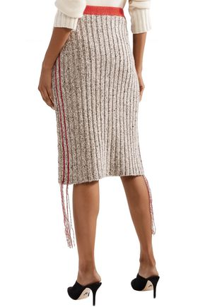 THE ROW Melodie fringe-trimmed ribbed cashmere skirt