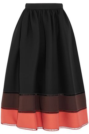 FENDI Color-block wool and silk-blend midi skirt