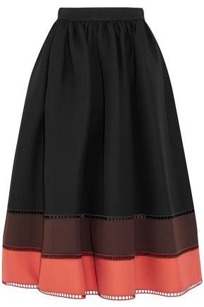 FENDI Color-block wool and silk-blend midi skirt