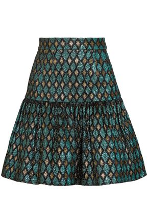 DOLCE & GABBANA Gathered metallic jacquard mini skirt