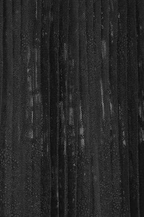 STELLA McCARTNEY Pleated embroidered tulle-paneled crepe skirt