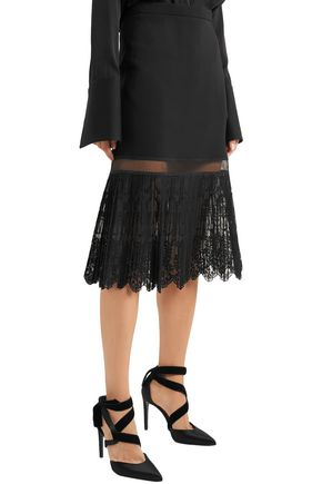 STELLA McCARTNEY Pleated embroidered tulle-paneled crepe skirt