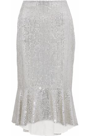 ALICE + OLIVIA Fluted embellished gauze midi skirt