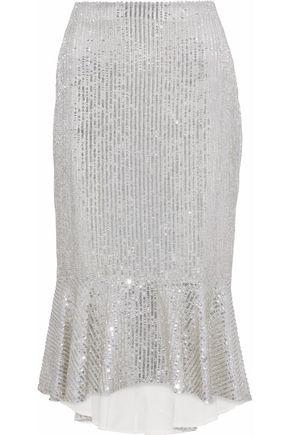 ALICE + OLIVIA JEANS Fluted embellished gauze midi skirt