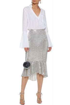 ALICE + OLIVIA Fluted embellished gauze midi skirt