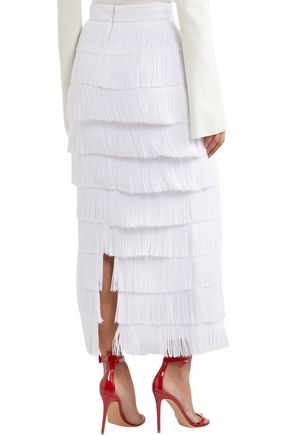 STELLA McCARTNEY Annika fringed crepe midi skirt