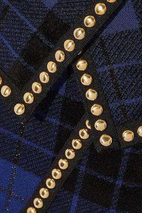 BALMAIN Studded metallic checked knitted mini skirt