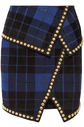 93efd038 BALMAIN Studded metallic checked knitted mini skirt