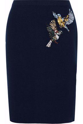MARKUS LUPFER Embellished merino wool pencil skirt