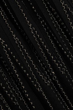 ALEXANDER MCQUEEN Embroidered pleated silk maxi skirt