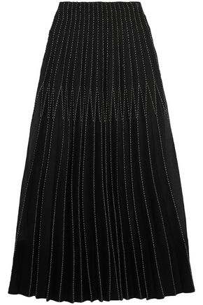 ALEXANDER MCQUEEN Embroidered pleated silk maxi skirt