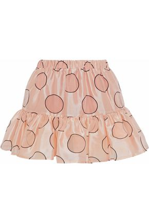 REDValentino Gathered polka-dot duchesse satin mini skirt