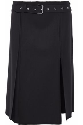 HELMUT LANG Belted pleated wool-blend twill skirt