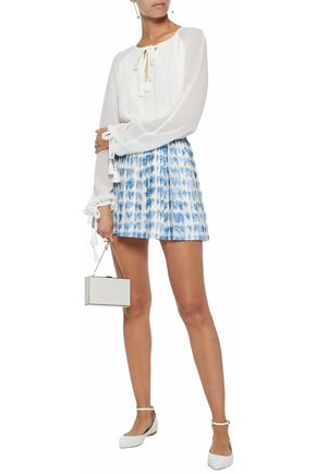 REDValentino Pleated printed silk-twill mini skirt