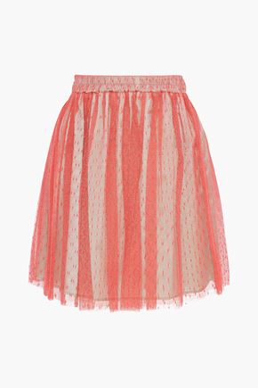 REDValentino Pleated point d'esprit skirt