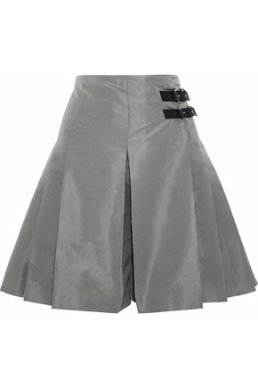 REDValentino Buckled pleated satin-faille shorts