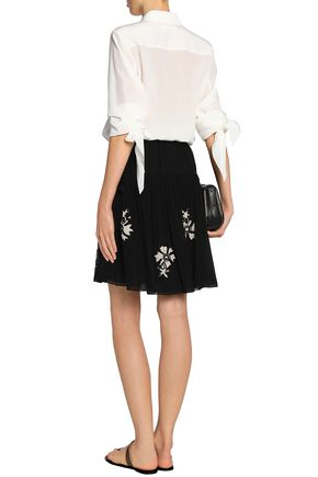 CHLOÉ Embroidered silk-georgette mini skirt