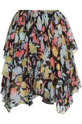 CHLOÉ Ruffled printed silk-georgette skirt