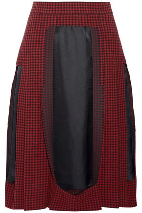 MAISON MARGIELA Faille-paneled houndstooth wool skirt