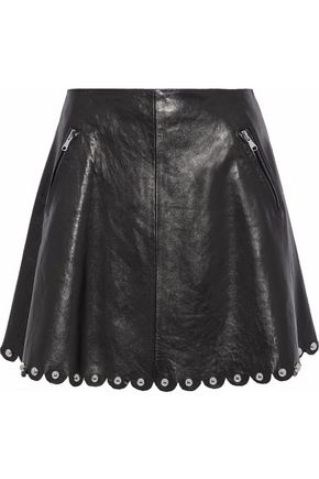REDValentino Scalloped studded leather mini skirt
