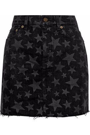 SAINT LAURENT Frayed printed denim mini skirt