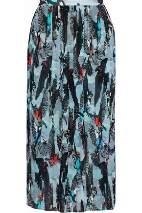 MARKUS LUPFER Harper pleated printed crepe de chine midi skirt