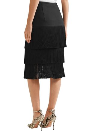 MICHAEL KORS COLLECTION Tiered fringed crepe skirt