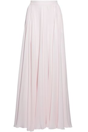 ELIE SAAB Pleated silk-georgette maxi skirt
