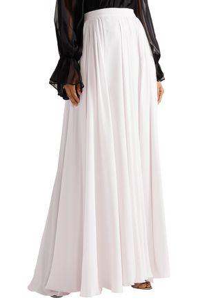 ELIE SAAB Pleated silk-georgette maxi skirt