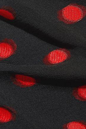 CARMEN MARCH Ruched polka-dot silk-blend fil coupé mini skirt