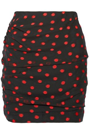CARMEN MARCH Ruched polka-dot silk-blend fil coupé mini skirt