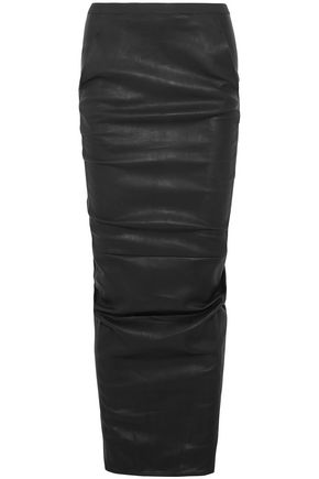 RICK OWENS Ruched stretch-leather maxi skirt