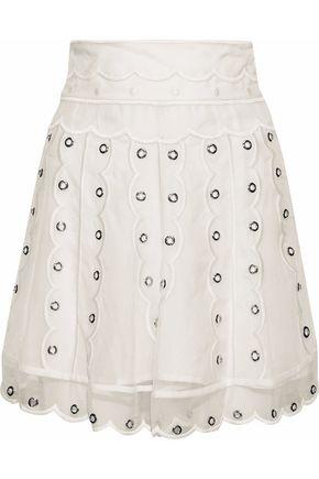REDValentino Scalloped eyelet-embellished silk-chiffon mini skirt