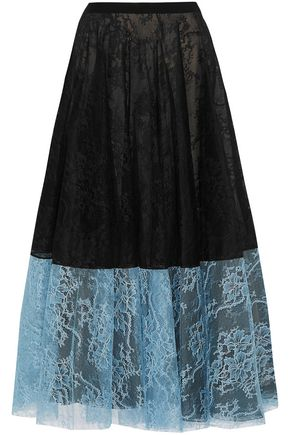ERDEM Zaneen two-tone Chantilly lace midi skirt