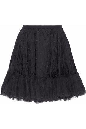 REDValentino Tulle-paneled embroidered silk-organza mini skirt