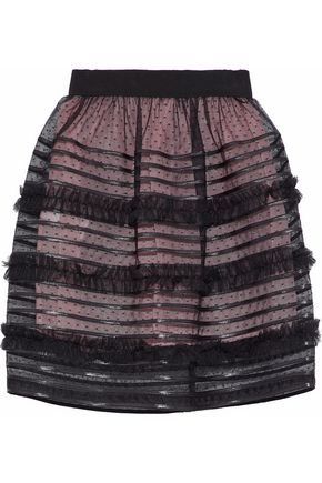 REDValentino Faux leather-trimmed gathered point d'esprit mini skirt