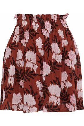 GANNI Monette gathered floral-print georgette mini skirt