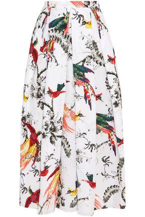 ERDEM Elena pleated printed cotton-poplin midi skirt