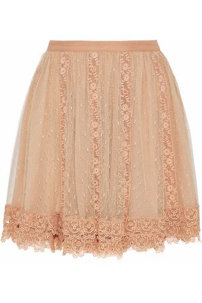REDValentino Lace-paneled point d'esprit mini skirt