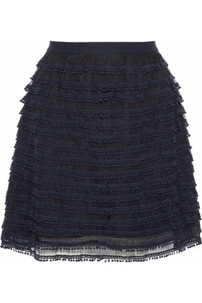 REDValentino Tiered pompom-embellished tulle mini skirt