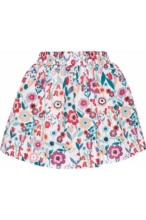 REDValentino Gathered floral-print faille mini skirt