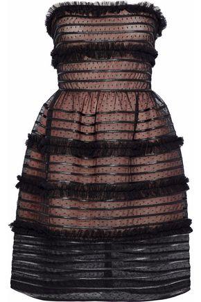 REDValentino Strapless tiered point d'esprit mini dress