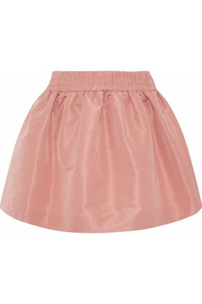 REDValentino Gathered satin-faille mini skirt