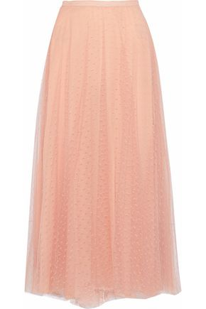 REDValentino Pleated point d'esprit maxi skirt