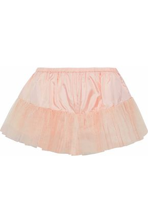 REDValentino Metallic tulle-trimmed silk-satin shorts