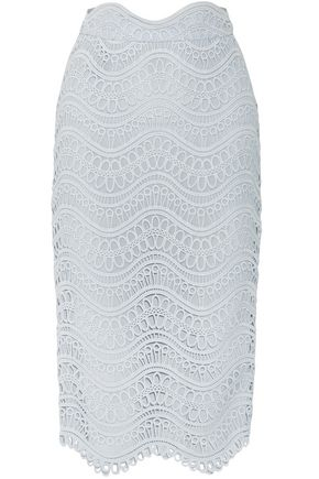 LELA ROSE Guipure lace midi pencil skirt