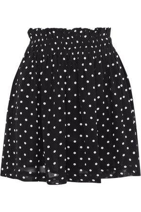 GANNI Monette gathered polka-dot chiffon mini skirt